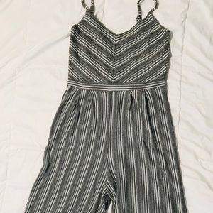 Striped Wide Leg Romper/Jumpsuit